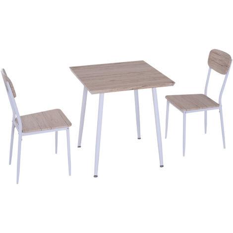 HOMCOM Set 1 Tavolino 2 Sedie da Pranzo per Cucina Salva Spazio in ...