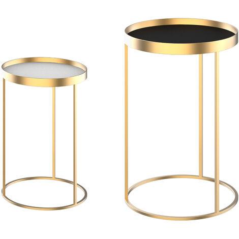 """main image of """"HOMCOM Set 2 Tavolini da Salotto Impilabili con Bordo Alto in Metallo e MDF Φ30/39x63cm Oro"""""""