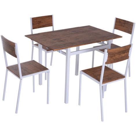 homcom Set da Pranzo Tavolino Estensibile 4 Sedie Acciaio