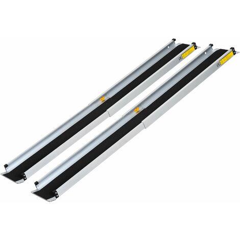 HOMCOM Set de 2 Rampas Telescópicas para Sillas de Ruedas Aluminio Antideslizante 74-122cm