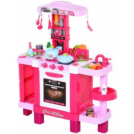 HOMCOM Set de Juguetes de Cocina para Niños Mayores de 3 Años Educativo con 38 Piezas Rosa