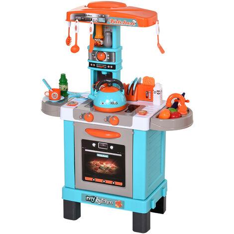 HOMCOM Set de Juguetes de Cocina para Niños Mayores de 3 Años Luces y Sonidos Educativo Azul - Azul