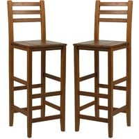 HOMCOM Set of 2 Acacia Hardwood Wooden Bar Stools with Backrest & Footrest Teak Colour