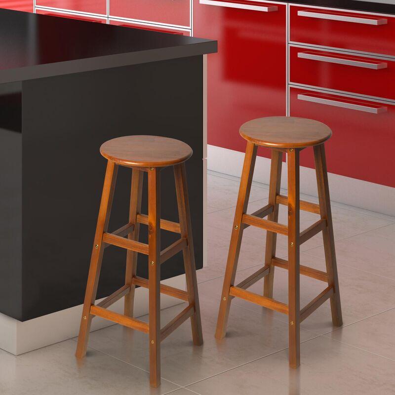 Terrific Homcom Set Of 2 Acacia Hardwood Wooden Bar Stools With Footrest Round Teak Colour Creativecarmelina Interior Chair Design Creativecarmelinacom