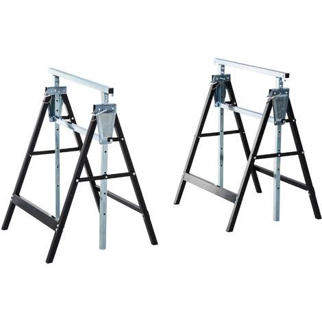 Homcom Set of 2 Adjustable Telescopic Builders DIY Steel Work Bench Tools