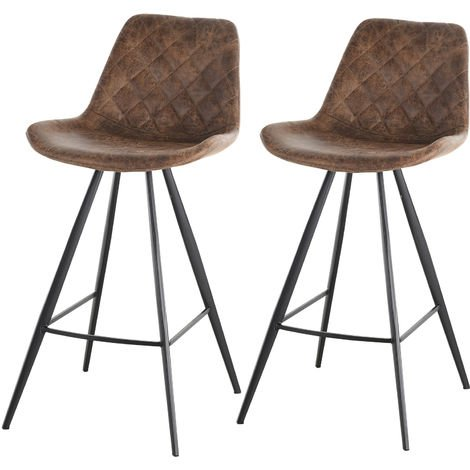 HOMCOM Set Of 2 Bar Stools Vintage PU Leather Tub Seats Padded Steel Frame Brown