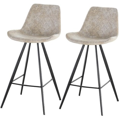 HOMCOM Set Of 2 Bar Stools Vintage PU Leather Tub Seats Padded Steel Frame Grey