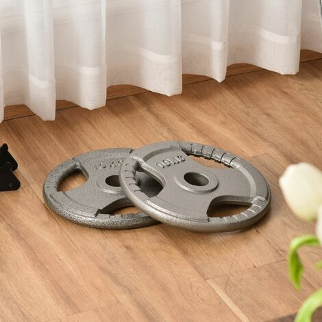 """main image of """"HOMCOM Set of 2 Cast Iron 2"""" Olympic Weight Plates Barbell Weight 2 x 10kg"""""""