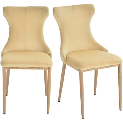HOMCOM Set of 2 Dining Chairs Stool Metal Frame Thick Cushion Foot Pad Cream