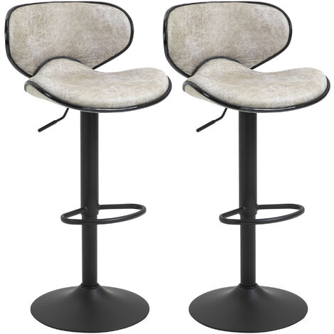 HOMCOM Set Of 2 Faux Leather Bar Stools Retro Vintage Seat Adjustable Height Grey