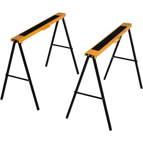 "main image of ""HOMCOM Set Of 2 Folding Saw Horses Steel Frame w/ Anti-Slip Platform Handle DIY"""