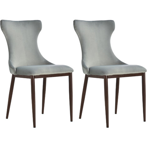 HOMCOM Set of 2 Linen-Look Dining Chairs Stool Metal Frame Cushion Foot Pad Grey