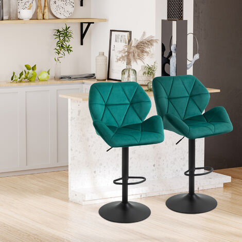 HOMCOM Set Of 2 Luxurious Velvet-Touch Bar Stools w/ Metal Frame Footrest Base Green