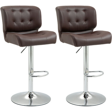 """main image of """"HOMCOM Set Of 2 PU Leather Racing Style Bar Stools Cool Retro Seating Dining Brown"""""""