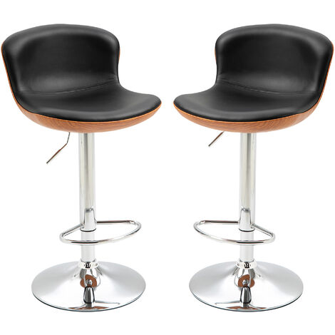 HOMCOM Set Of 2 PU Leather Swivel Bar Stools Tub Seat w/ Metal Frame Footrest Black