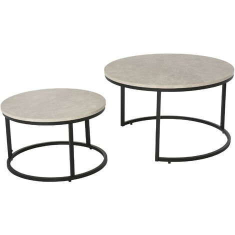 """main image of """"HOMCOM Set Of 2 Stacking Coffee Tables w/ Metal Frame Marble Effect Top Home"""""""