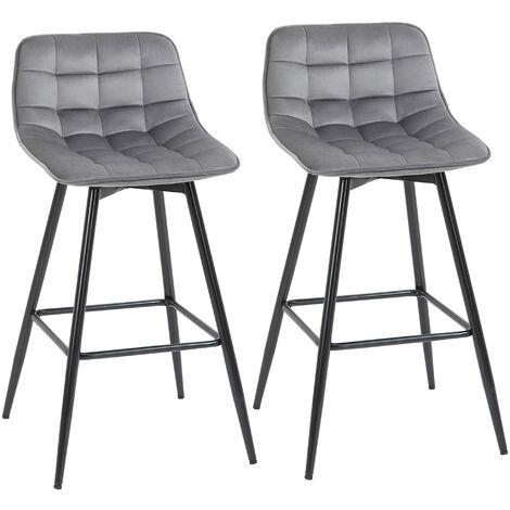 "main image of ""HOMCOM Set of 2 Velvet-Feel Bar Stools Kitchen Chairs w/ Metal Frame Grey"""