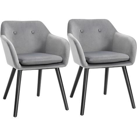 "main image of ""HOMCOM Set Of 2 Velvet Look Dining Chairs Retro Seating Wooden Legs Grey"""