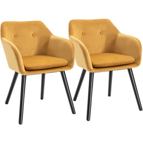 "main image of ""HOMCOM Set Of 2 Velvet Look Dining Chairs Retro Seating Wooden Legs Yellow"""