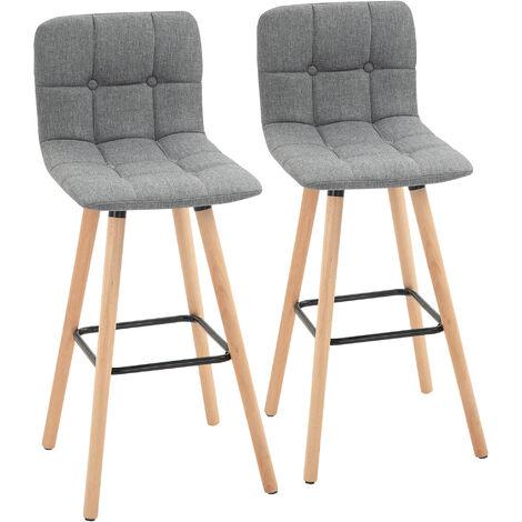 "main image of ""HOMCOM Set Of 2 Wood Frame Armless Fabric Bar Stools Counter Height Home Grey"""