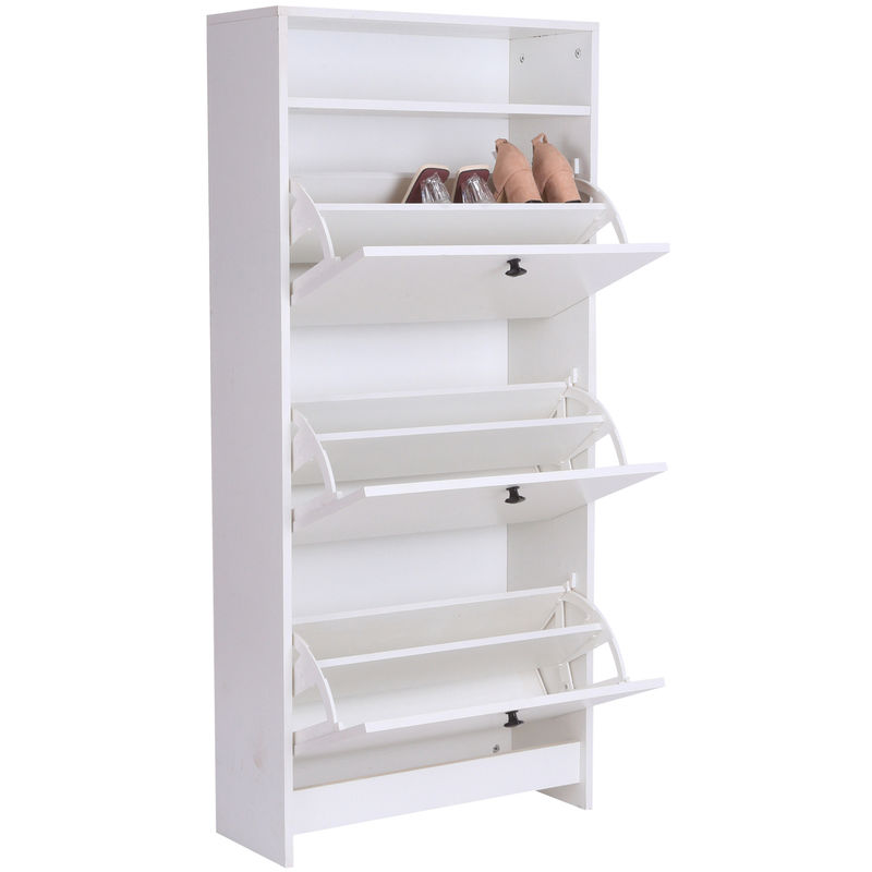 Homcom Shoe Storage Cabinet Footwear Organiser Rack E Saving W 3 Drawers White