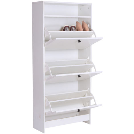 HOMCOM Shoe Storage Cabinet Footwear Organiser Rack Space-saving w/ 3 Drawers - White