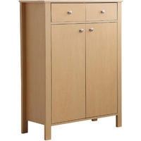 HOMCOM Shoes Cabinet 2-Door 16 Pairs Footwear Organiser Adjustable Shelves - Natural Wood