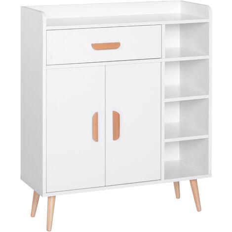 HOMCOM Side Cabinet Storage Unit Home Furniture Sideboard Organiser White