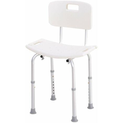 HOMCOM Silla Ducha Aluminio Baño Taburete Regulable + Respaldo Silla Antideslizante WC - Blanco y Plata