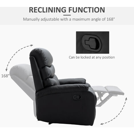 HOMCOM Single Recliner Sofa PU Leather Armchair Padded Cinema Chair - Black