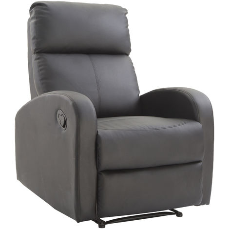 HOMCOM Single Recliner Sofa PU Leather Padded Armchair Living Room Furniture - Black/Brown