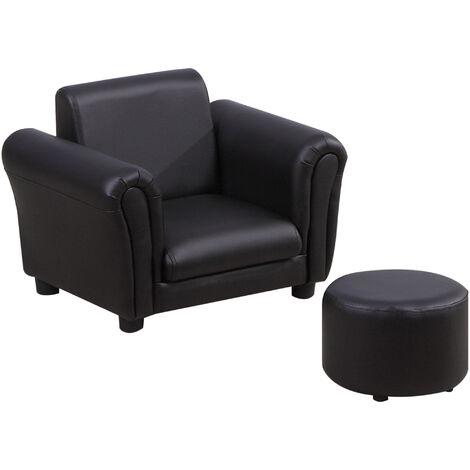HOMCOM Single Seater Kids Sofa Set Children Couch Armchair w/ Free Footstool - Black