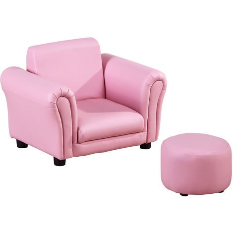 """main image of """"HOMCOM Single Seater Kids Sofa Set Children Couch Armchair w/ Free Footstool - Pink"""""""