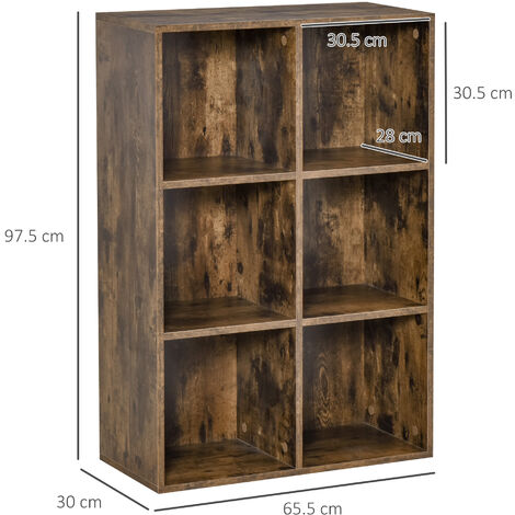 """main image of """"HOMCOM Six-Cube Rustic Display Cabinet Bookcase Storage Furniture Home Office"""""""