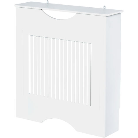HOMCOM Slatted Radiator Heater Cover Home Furniture Safety Worktop White