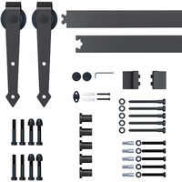Homcom Sliding Wood Barn Door Stainless Steel Set