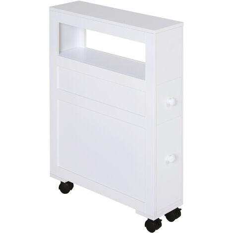 HOMCOM Slimline Bathroom Storage Cabinet w/ Shelf Drawers Side Compact White