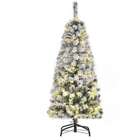 "main image of ""HOMCOM Snow-Flocked Artificial Christmas Tree w/ Warm White LED Lights 4ft"""