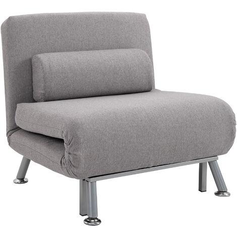 "main image of ""HOMCOM Sofa Chair Bed w/ Metal Frame Padding Pillow Home Furniture Grey"""