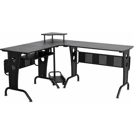 HOMCOM Space-Saving Corner Work Office Desk Gaming w/ Steel Frame CPU Rack Black