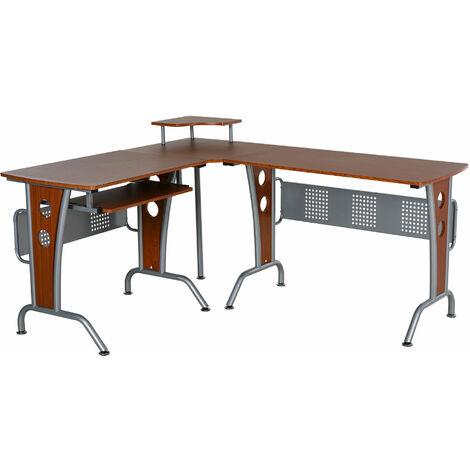 HOMCOM Space-Saving Corner Work Office Desk Gaming w/ Steel Frame CPU Rack Brown