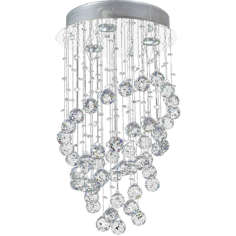 Homcom Spiral Crystal Lamp Flush Mount Chandelier Ceiling Pendant Living Room Silver