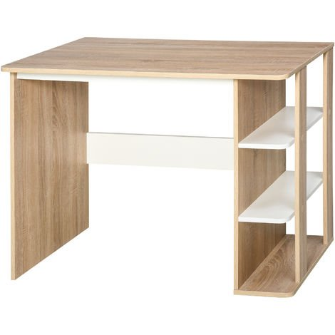 HOMCOM Square Desk & Side Shelves Unit Workstation Desktop Sleek Stylish