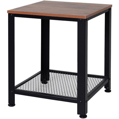 HOMCOM Square Industrial Style Side Table Metal Frame Veneer Top w/ Shelf Black