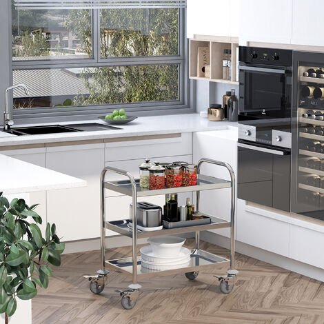 HOMCOM Stainless Steel 3 Tier Rolling Kitchen Service Cart Catering Trolley 70.5L x 40.5D x 81H (cm)