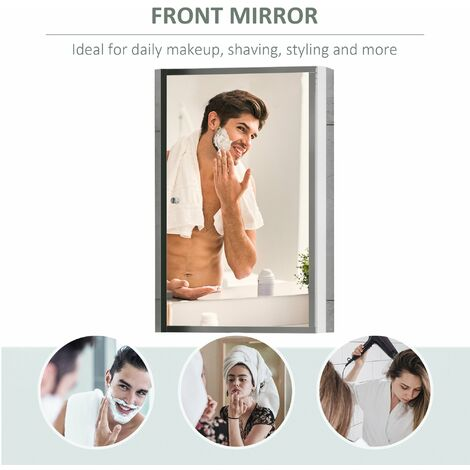 Homcom Stainless Steel Bathroom Mirror Cabinet 2 Shelves w/ Single Door