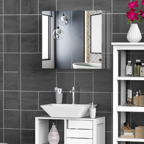 Homcom Stainless Steel Wall mounted Bathroom Mirror Cabinet Double Doors 600W (mm)