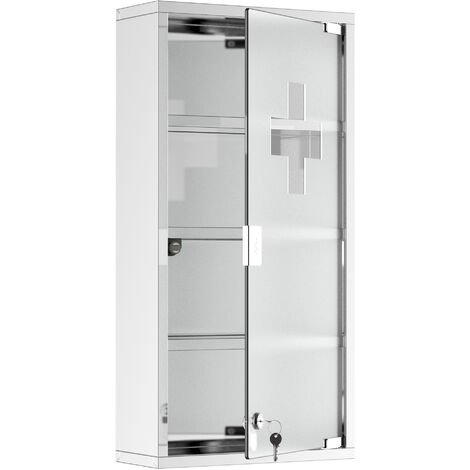 Homcom Stainless Steel wall mounted Medicine Cabinet w/ 2 Shelves Lockable