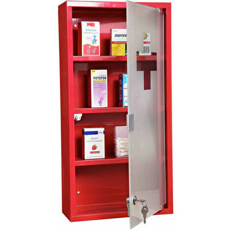 Homcom Stainless Steel wall Mounted Medicine Cabinet w/ 3 shelves Lockable 60H (cm) - Red