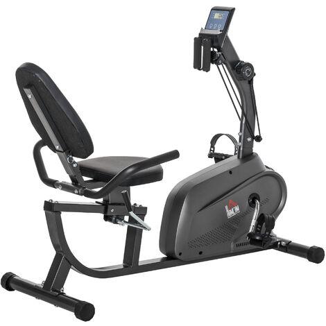 HOMCOM Stationary Cycling Bike Exercise Equipment w/ LCD Monitor & Pad Holder